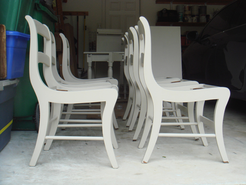 Base coat on chairs.