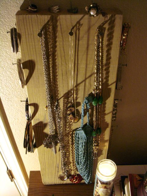 Scrap wood jewelry organizer.