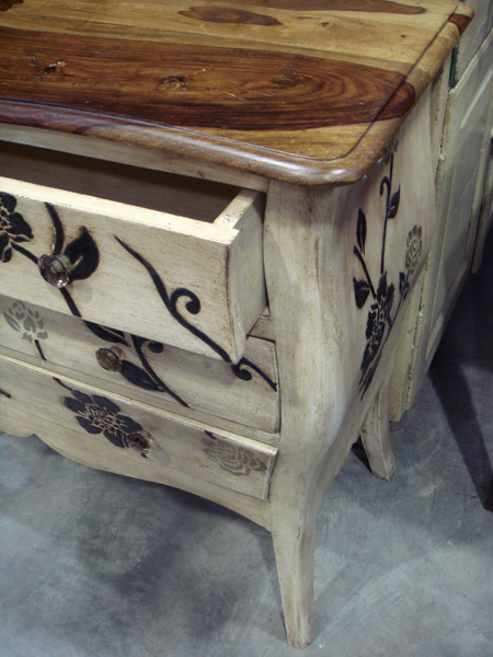 Wooded top dresser with floral carving