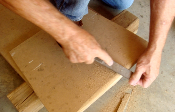 sanding seat from particle board